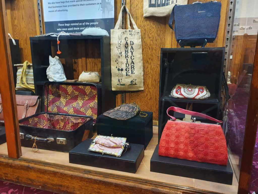 Collection of bags at Cambridge Museum New Zealand