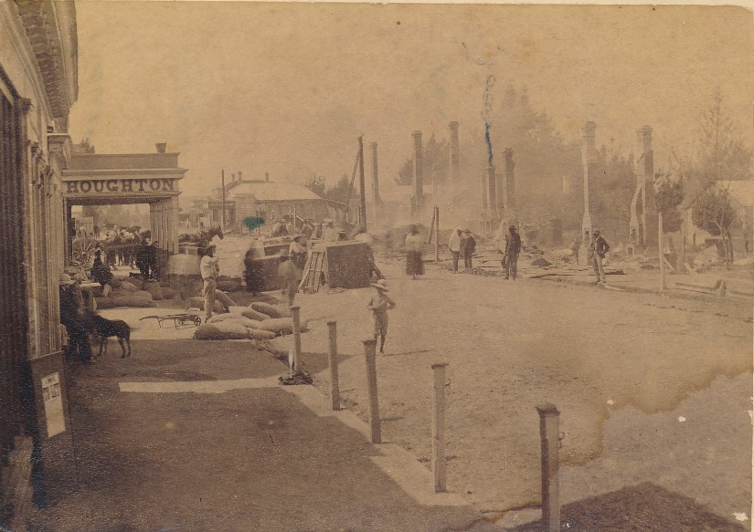 Photograph of Duke Street, Cambridge NZ showing premises destroyed by fire in 1889