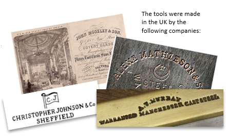 Tool makers marks on wooden tools