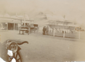 Sepia photo of the National Hotel on fire, 1912