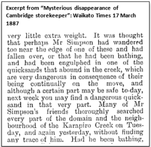"""Excerpt from """"Mysterious disappearance of Cambridge storekeeper"""": Waikato Times 17 March 1887"""