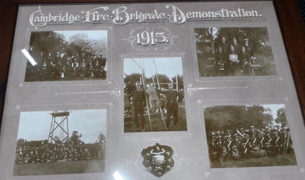 Framed photo of the Cambridge Fire Brigade Demonstration 1915