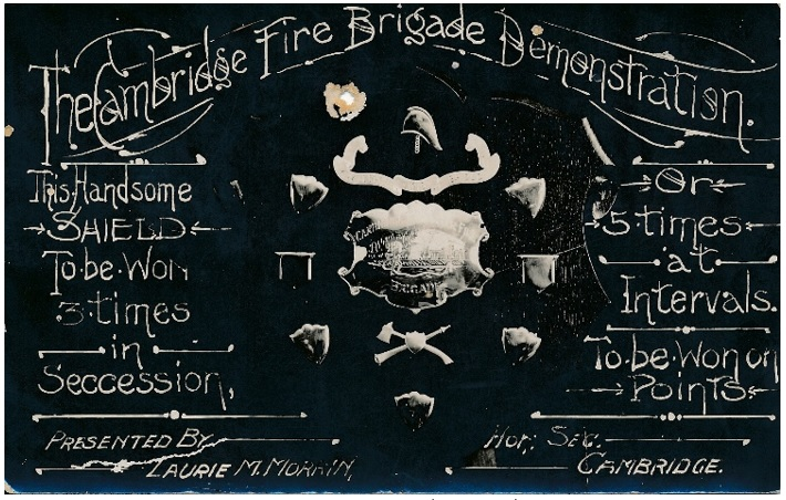 Postcard of Cambridge Fire Brigade Demonstration 1915